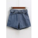 Plain Chic Denim Hot Short With Ribbon Embellish