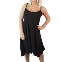 Womens Plain Sleeveless Strappy Swing Dress
