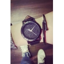 Vintage Galaxy Pattern Leather Quartz Water Resistance Watch