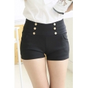 Women's Fashion Sexy Stretchy Sailor Silver Buttons High Waist Casual Shorts Pant
