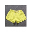 Women's Casual Cotton Drawstring Solid Waistband Shorts