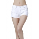 Women's Juniors Denim Mid Waist Cutoff Shorts