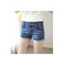 Women's Medium Wash Cuffed Denim Midi Shorts