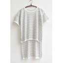 Women's High Low Hem Stripe T-shirt