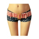 Women Low Waist Sexy American US Flag Belt Star Waistband Jean Denim Shorts