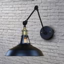 Swing Arm 1Lt Pot Cover Wall Sconce in Textured Black for Bedside Restaurant Farmhouse