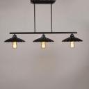Classic Black 3 Light Industrial Linear Island Pool Table LED Pendant