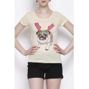 Cute Short Sleeve Round Neck Cartoon Print Tee
