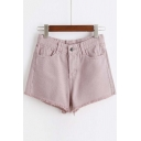 Plain Raw Hem Chic Hot Shorts