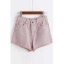 Plain Raw Hem Chic Hot Shorts