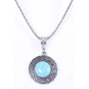 Women's Metal Gemstone Pendant Necklace