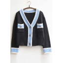 Women's Contrast Color Lapel Pocket Buckled Knitwear Cardigan