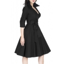 Women's Deep-V Neck Half Sleeve Bow Belt Vintage Classical Casual Swing Dress