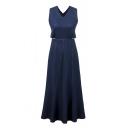 Fashionable V-neck Sleeveless Cross Back Long Denim Dress