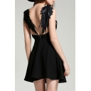 New Design Hollow Wing Back Embellish Sexy Cami Mini Dress