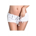 Women Low Waist White Black Wash Denim Shorts