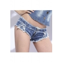 Sexy Mini Short Jeans Low Waist Fringed String Side Open Blu