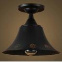 Matte Black Bell Shade Down Lighting Small LED Semi Flush Ceiling Mount