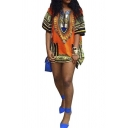 Women Short Traditional African Dashiki Print Sundress