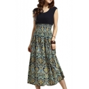 Bohemian Style Color Block Swing Maxi Chic Dress