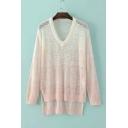 Fashionable V-neck Hollow Long Sleeve Sweater