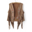New Style Embroidered Detail Tassel Vest Top