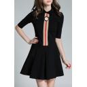 High Quality Lapel Half Sleeve Mini A-Line Dress