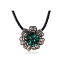 Vintage Popular Alloy Crystal Flower Shaped Women's Necklace