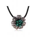 Vintage Popular Alloy Crystal Flower Shaped Women's Necklace