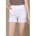 Women's Mid Waist Cuffed Shorts Hot Pants