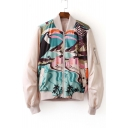 Stand Up Collar Long Sleeve Zipper Front Graphic Pattern Coats Outwear