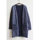 Women's Front Ppocket Long Sleeve Plain Knitwear Cardigan