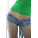 Womens Sexy Low Waist Burr Cut Off Mini Jean Denim Shorts