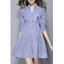Women's Collar Nail Bead Stripe Cultivate One's Morality Dress