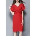 Women's Sexy Deep V-neck Bat Sleeve Waist Split Dress