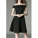 Women's One Word Led Off-the-shoulder Show Thin Big Long Dress