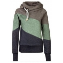 Women's Stylish Slim Color Block Hooded Sweatshirt