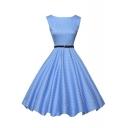 Sleeveless Vintage Polka Dot Dress with Belt