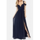 Greek Inspired Style Cold Drop Shoulder Chiffon Side Split Slit Long Maxi Dress