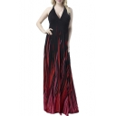 Women's Flame Design Halter Sexy Maxi Dress Evening Gown Plus Size