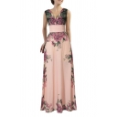 Women Floral Print Chiffon Long Dress