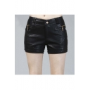 Hot PU/Leather Zipper Embellish Women's Shorts