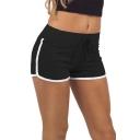 Women Elastic Waist Drawstring Piped Running Shorts