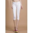Women Slim Fit Plain Chic Short Pants