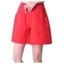 Womens Elastic Drawstring Waist Cotton Linen Loose Wide Leg Shorts