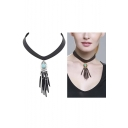 women's Turquoise Collar Tassel Brief Paragraph Leather Necklace