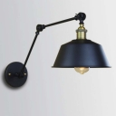 Industrial Style 1 Light Adjustable LED Wall Sconce in Black