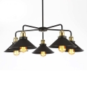 Five Light Industrial 1 Tier LED Chandelier in Black Finish