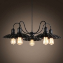 Beautiful Five Light Single Tier LED Chandelier in Black with Scalloped Shade