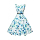 Sleeveless Vintage Tea Dress with Belt